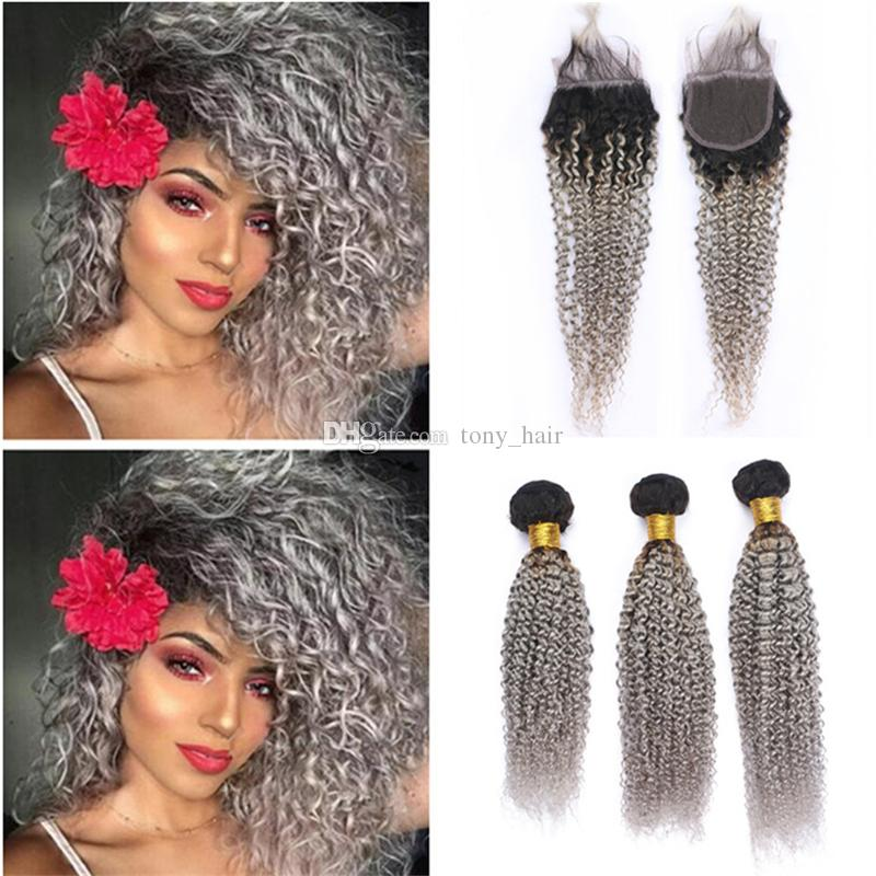 Ombre Kinky Curly Human Hair Bundles with Lace Closure Dark Roots Grey Ombre Peruvian Hair Weave and Closure 1B/Gray Ombre Wefts