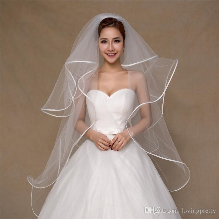 JaneVini 2018 Simple Multi Layer Short Wedding Veils Satin Edge Fingertip Length Veil Soft Tulle Bridal Wedding Accessories Voile De Mariage