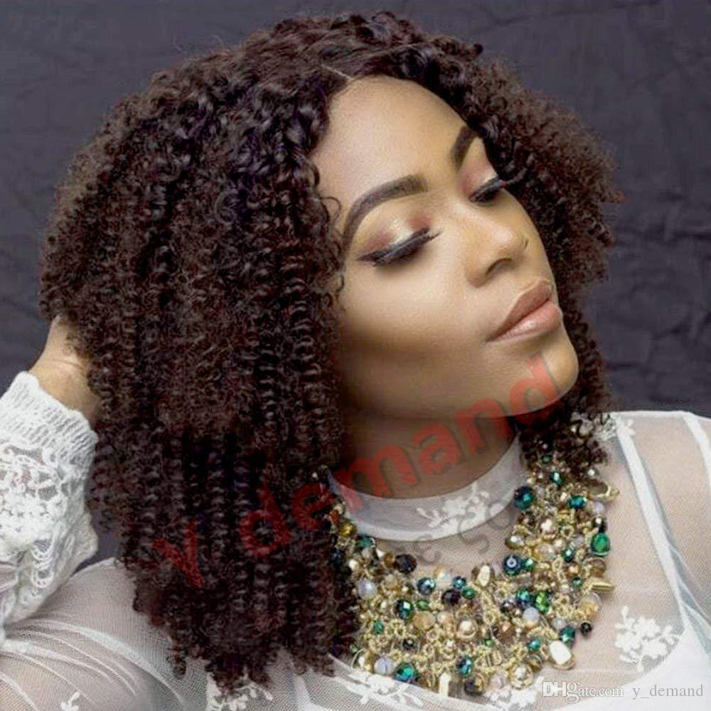 New Short Bob Black Brown Kinky Curly Wigs For Black Women Synthetic None Lace Wig, Japanese Kanekalon Fiber Afro Wgs