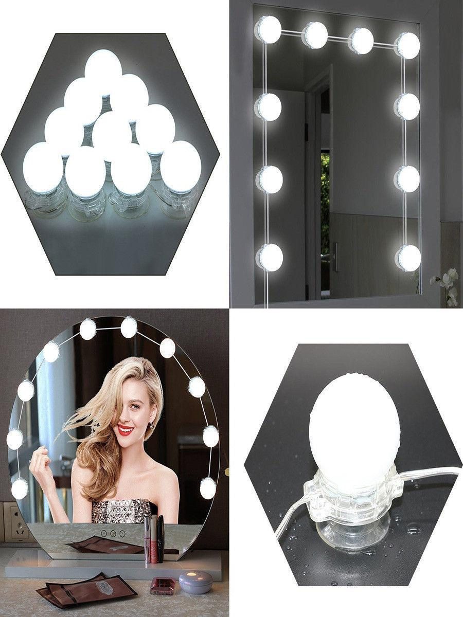 1 kit, Hollywood Style LED Vanity Makeup Mirror Light Kit with 10 bulbs Dimmable Dressing Room Lighting Lamp