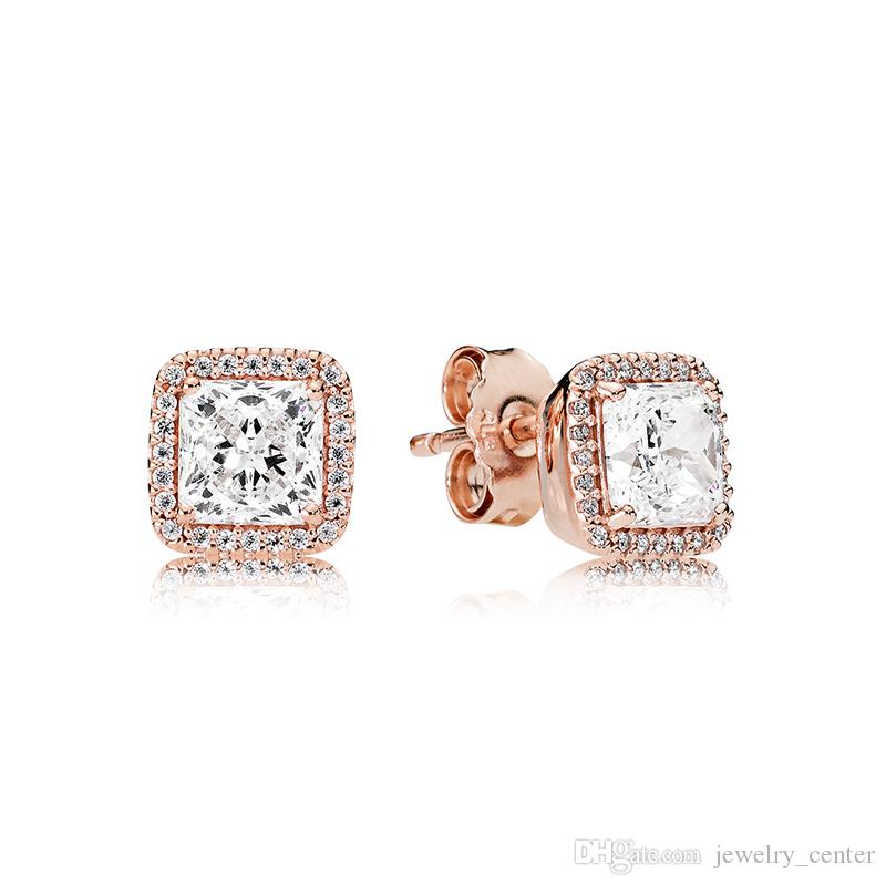 3 Colors 925 Sterling Silver square CZ Stone Stud Earring 18K Gold Rose gold earrings with Original box for Pandora Women's Jewelry