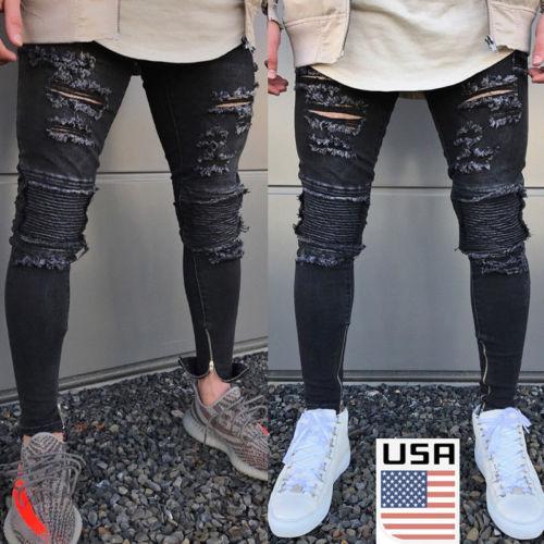 EU ESTOQUE Homens Slim Denim Jeans Skinny Desgastado Calças Angustiado Rasgar Calças