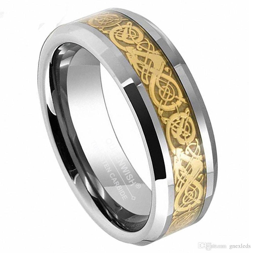 Fascini di fidanzamento celtico del drago dell'oro del carburo del tungsteno di 8mm Regali neri di venerdì