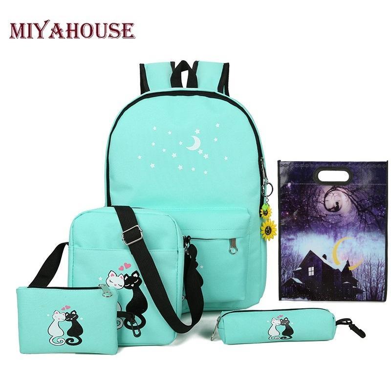 Miyahouse 5 Pcs/set Women Backpack Cute Cat School Bags For Teenage Girls Canvas Printing Backpacks Ladies Shoulder Bags