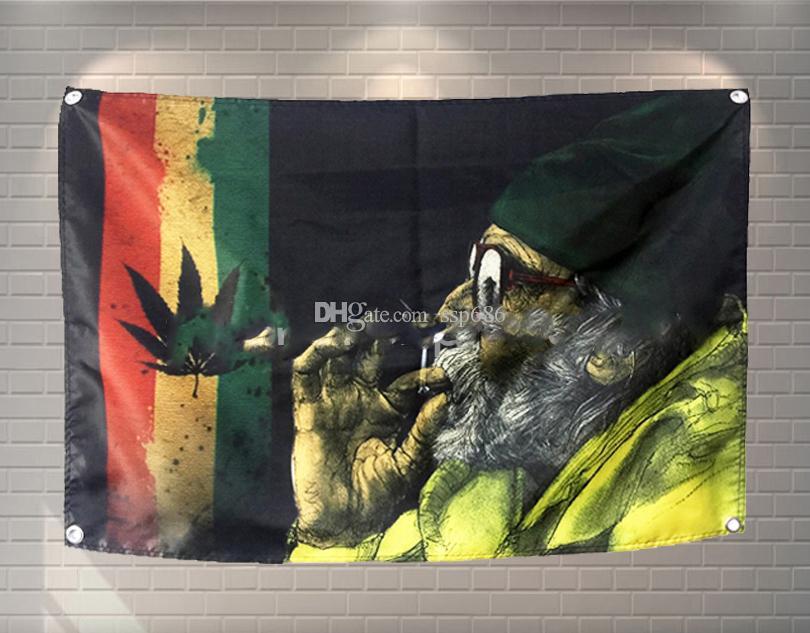 Bob Marley Flag Banner Poliestere 144 * 96cm Appendi al muro 4 occhielli Custom Flag indoor02