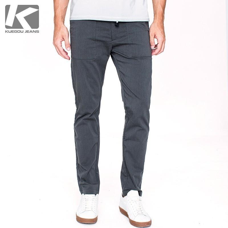 Autunno Pantaloni casual da uomo in cotone nero tinta unita tasca per uomo Moda Slim Fit 2018 Nuovo maschio indossare pantaloni lunghi dritti 71387