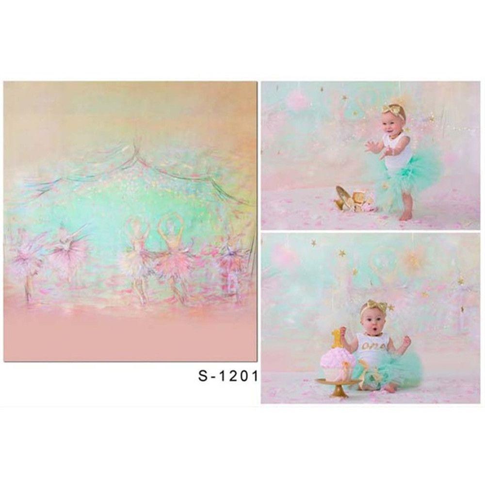 Компьютер покрасил Детские Новорожденный Фон фотографии Розовый Виниловые ткани балета Девушки Дети Birthday Party Photo Booth Фоновая