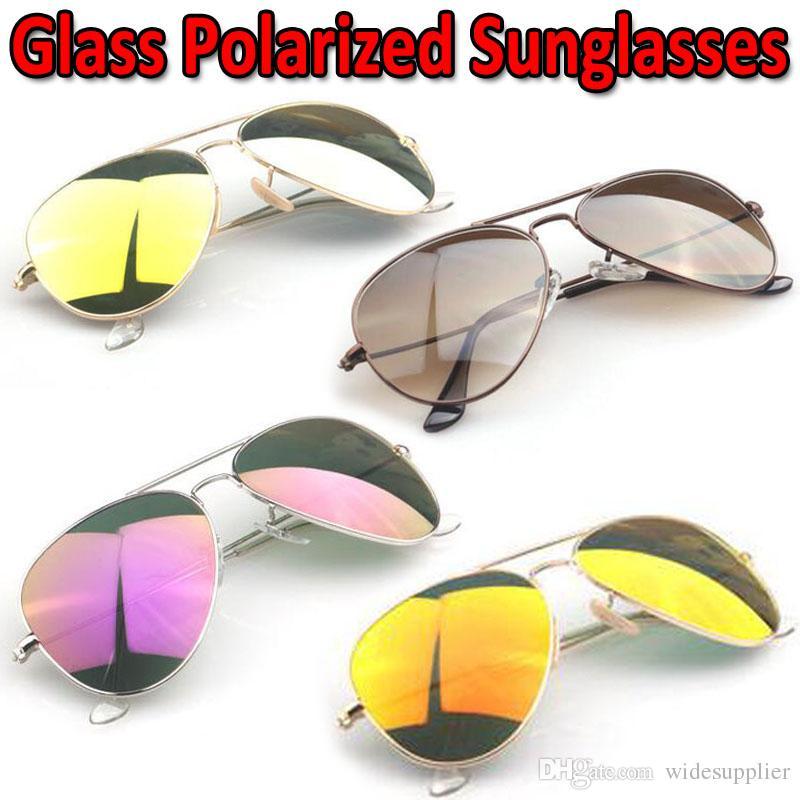 Gafas de sol de vidrio de diseñador para hombres Mujeres Gafas de sol de espejo de vidrio de color de alta calidad nuevo con lentes de diamante polarizado
