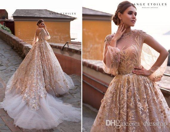 Роскошные свадебные платья Ange Etoiles Роскошные свадебные платья с блестками и кружевами с длинными рукавами
