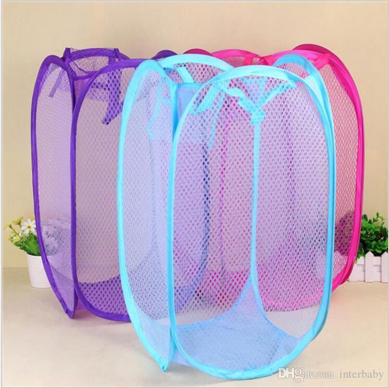 Creative Folding Laundry Basket Foldable Storage Basket Mesh Washing Baskets Toy Dirty Clothes Storage Basket Breathable Storage YL451