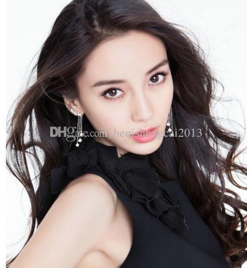 envío gratis pendientes de perlas borla de estilo coreano con pendientes de diamantes de imitación de perlas de estilo simple y largo son de moda y clásico