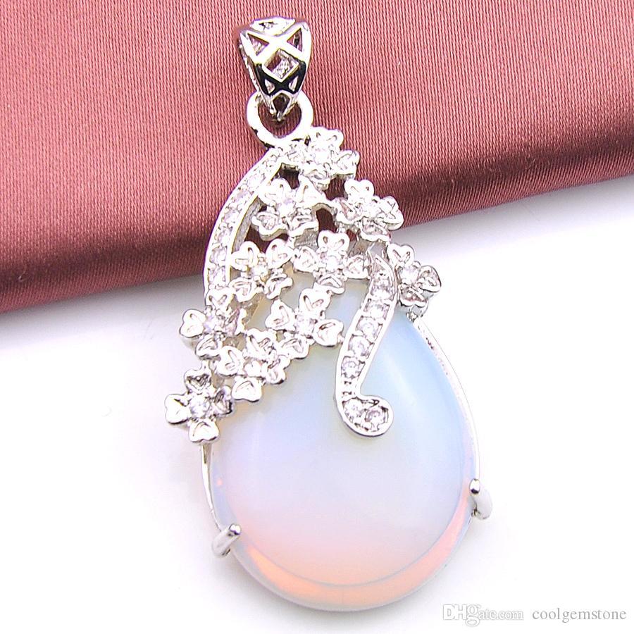 Luckyshine 6 sztuk / partia Classic 100% Natural Water Drop Cut Diamond White Fire Moonstone Gemstone Vintage Srebrne Wisiorki Naszyjnik Biżuteria