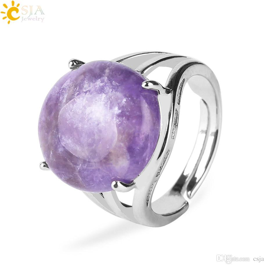 CSJA 19 gemme di colore anello per le donne single naturale pietra rotonda perlina casuale vero cristallo di quarzo argento anelli di barretta festa di compleanno gioielli F476