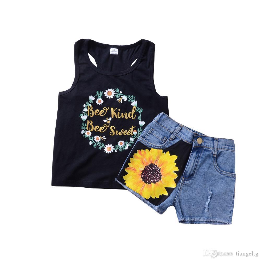 Kızlar Yelek + Denim Şort Takım Çiçek Mektuplar Baskılı Çocuklar Iki parçalı Giyim Setleri Kolsuz Ayçiçeği Pamuk ile Tops 2-6 T