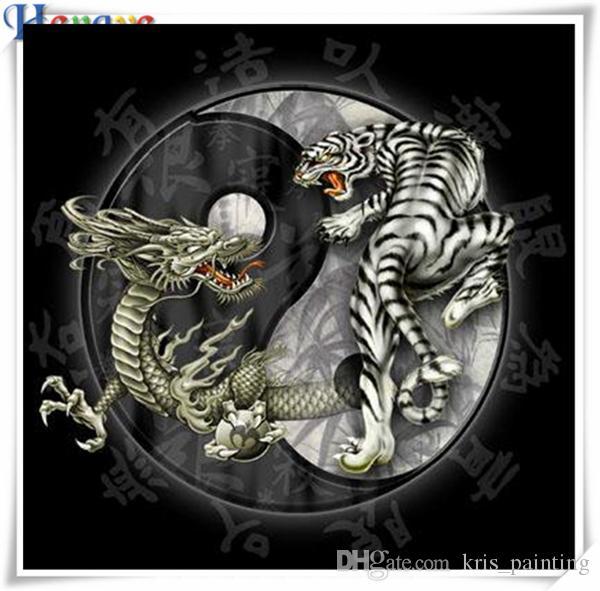 Rhinestone lleno squareround diamante bordado animal dragon tigre 5D pintura diamante bricolaje kit de punto de cruz regalo de decoración del hogar mosaico AA0433