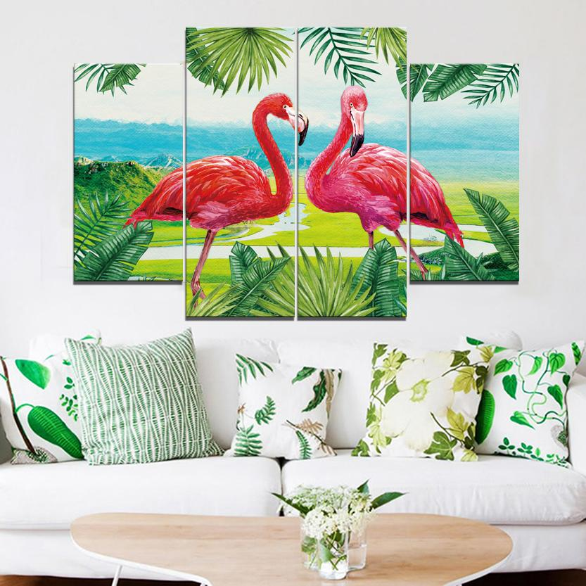 Two Flamingos Frameless Paintings 4pcs (No Frame) Printd on Canvas Arts Modern Home