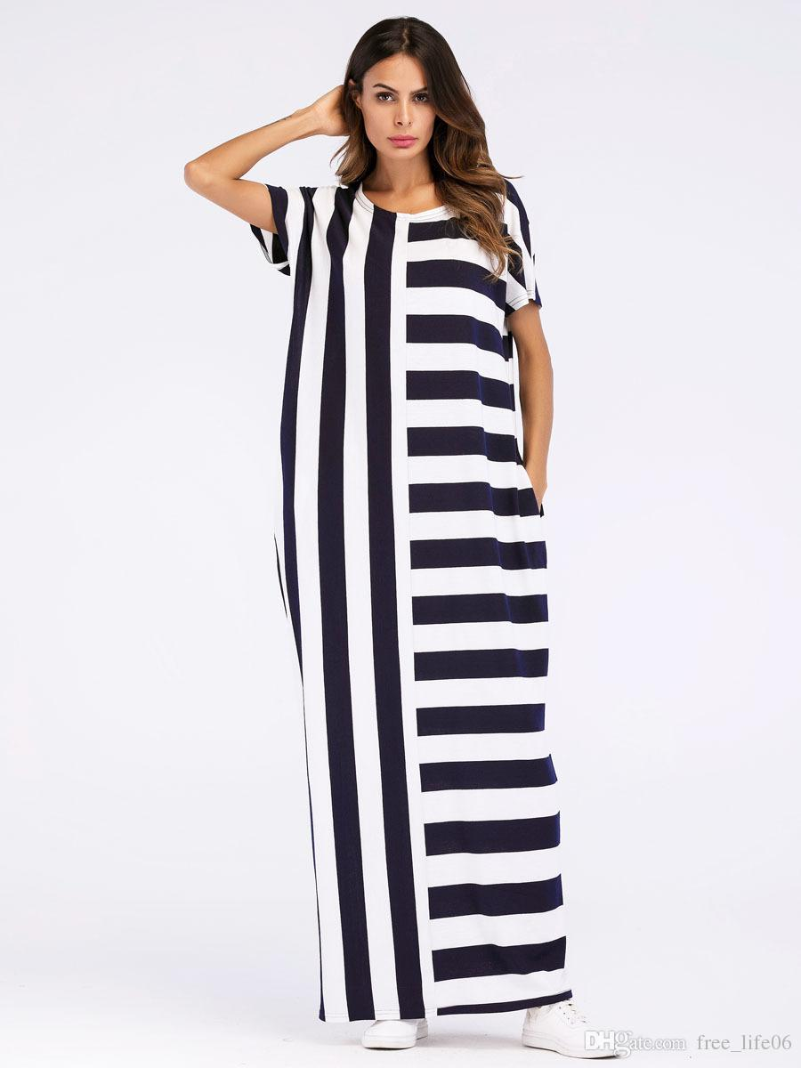 Acheter Robe Dete 2018 Maxi Femme Longue Robe Mode Euroamerican Stripe Color Block T Shirt Robes Lache Droite Femelle De 13 9 Du Free Life06 Dhgate Com