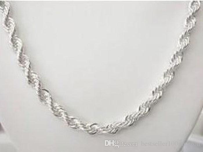 Fine 925 Colar de prata esterlina 4mm 16-24inch torcido corda corrente link, 2018 fine real 925 prata sacudidela cadeia colar novo estilo quente sn067