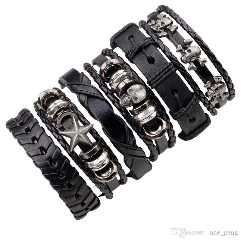 6 pçs / set multicamadas crânio tecer pulseiras de couro conjunto para mulheres homens amigo presente vintage pulseira pulseira atacado jóias liga miçangas