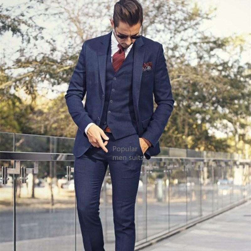 Marineblau Männer Anzüge Maßgeschneiderte Slim Fit 3 stücke Hochzeit Anzüge Für Männer Anzug Prince Of Wales Check Fensterscheibe Anzug