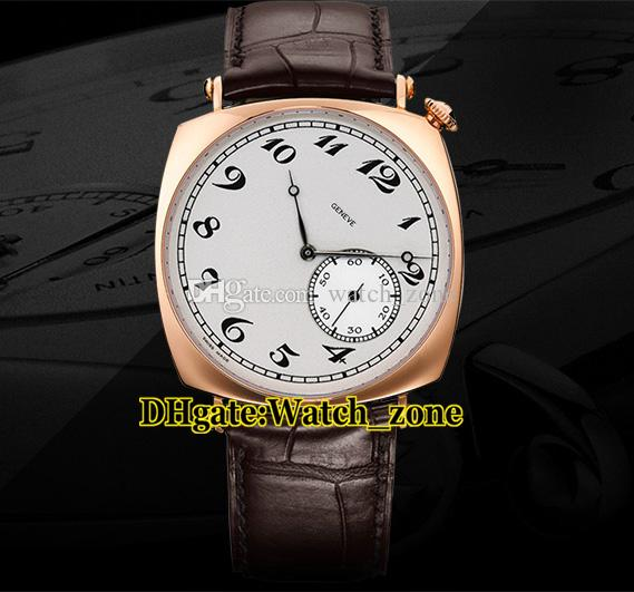40mm historiques americanos 1921 automático 82035 / 000R-9359 mens relógio branco mostrador rosa ouro caso pulseira de couro pulseiras relógios de pulso