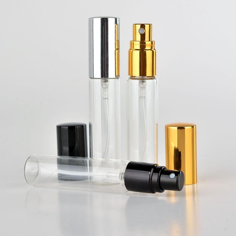 Bottiglia di profumo riutilizzabile di vetro portatile all'ingrosso di 100 pezzi / lotto 10ML con l'atomizzatore di alluminio caso vuoto di Parfum per il viaggiatore