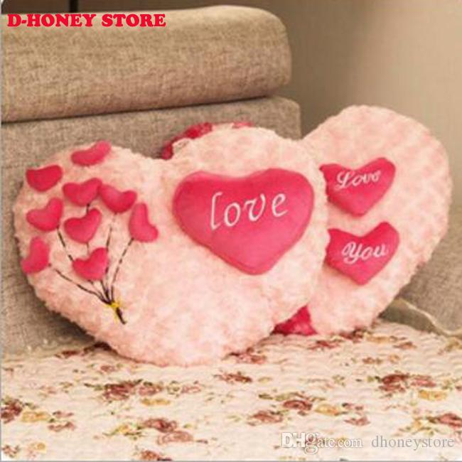 Roses Love pillow cartoon couple pillow Heart Shape Sofa Rose applique Cushion Plush Toy Valentine's Day wedding gift