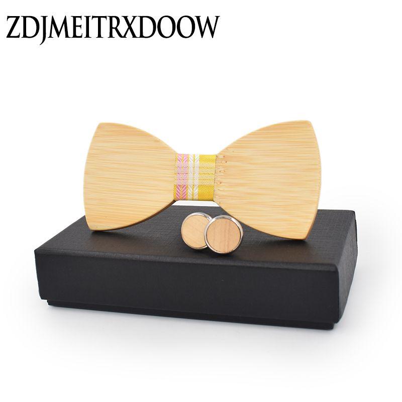 Nuovo design Moda Mens legno Papillon accessorio Gemelli Set Regali di Natale Bambù in legno Bowtie per uomo Donna Cravatta