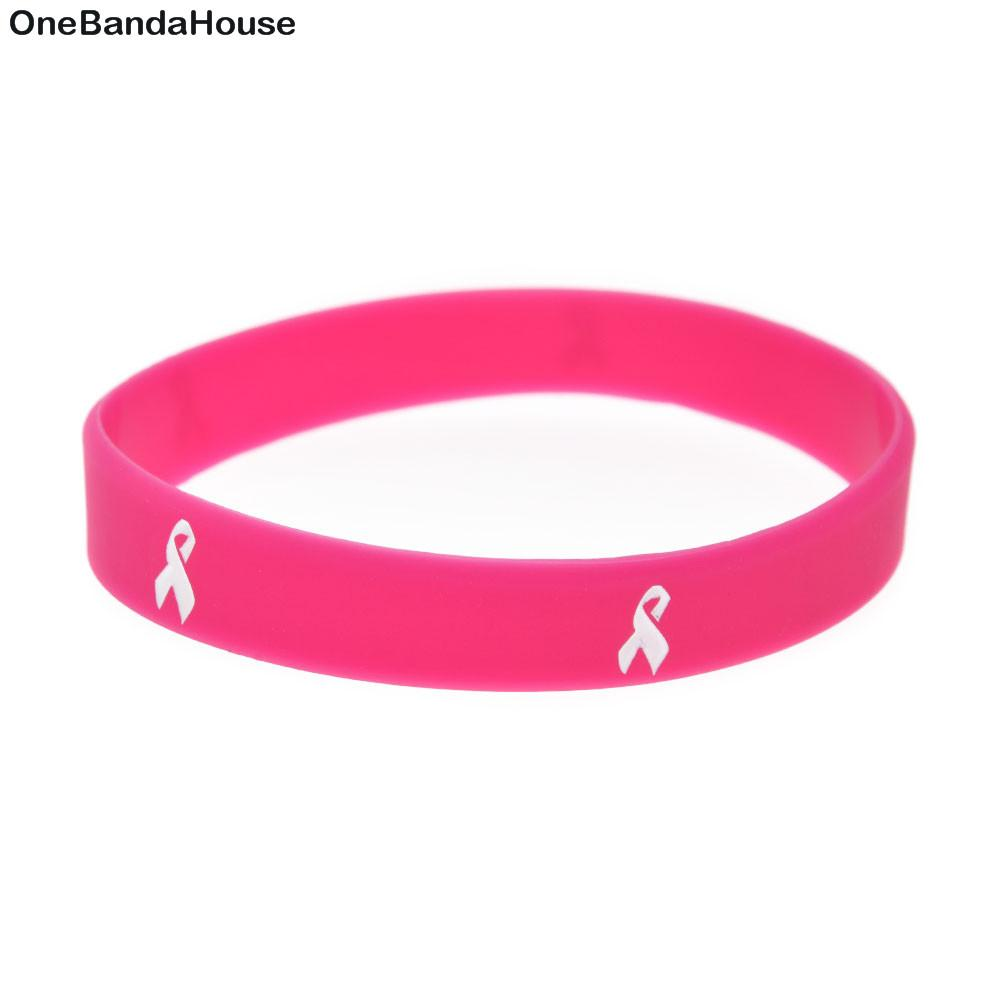 100PCS Debossed and Filled in Color Pink Cancer Ribbon Silicone Rubber Bracelet