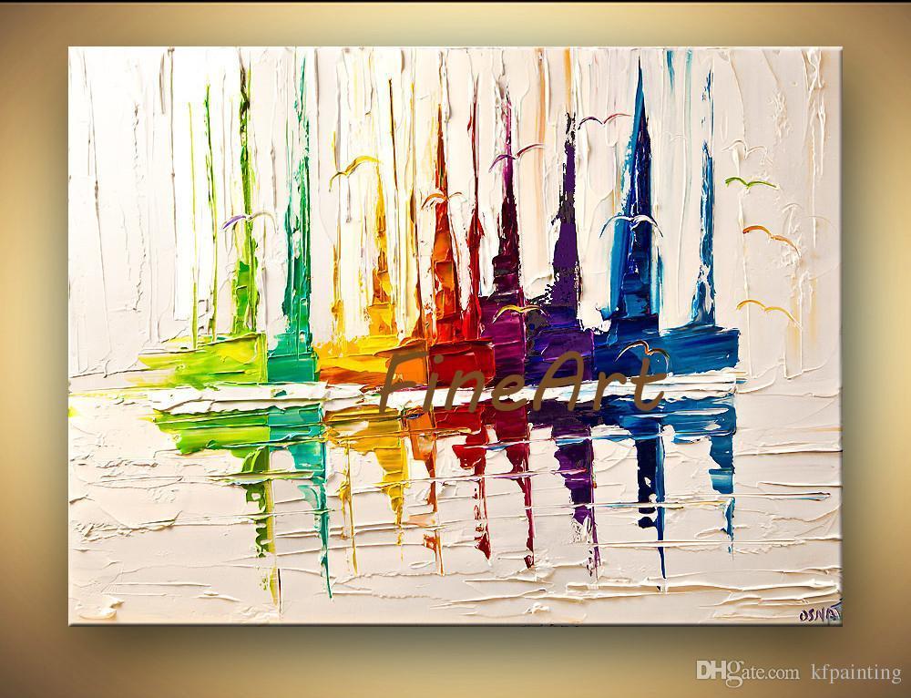 اليدوية الصورة جدار الفن لوحات تجريدية قارب لوحة سكين نسيج اللوحة النفط اللوحة المعاصرة قماش اللوحة غرفة نوم