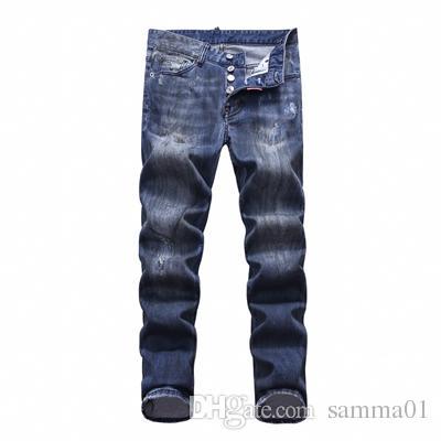 Nuevos Mens Skinny jeans Casual Slim Biker Jeans Denim Agujero de la rodilla hiphop Pantalones rasgados lavados de alta calidad envío gratis SQL22