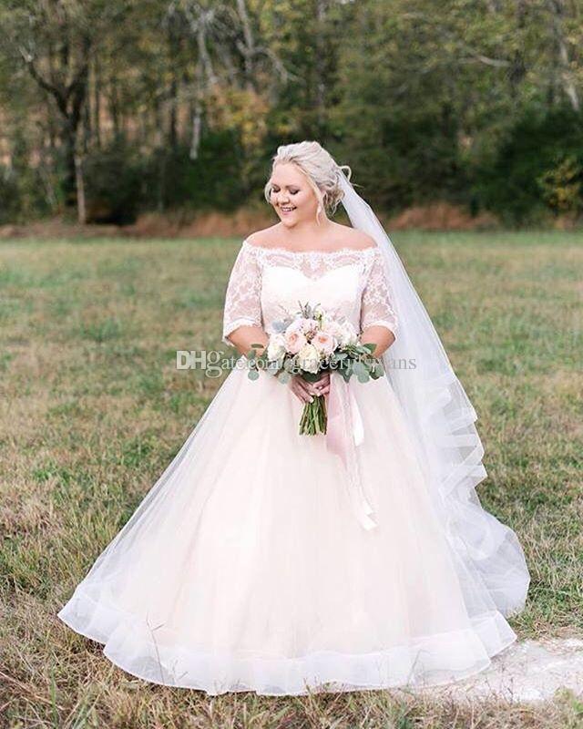 Tekne Boyun Kapalı Omuz Artı Boyutu Gelinlik Yarım Kollu A-Line Dantel Gelinlikler 2019 noivas vestidos de noiva