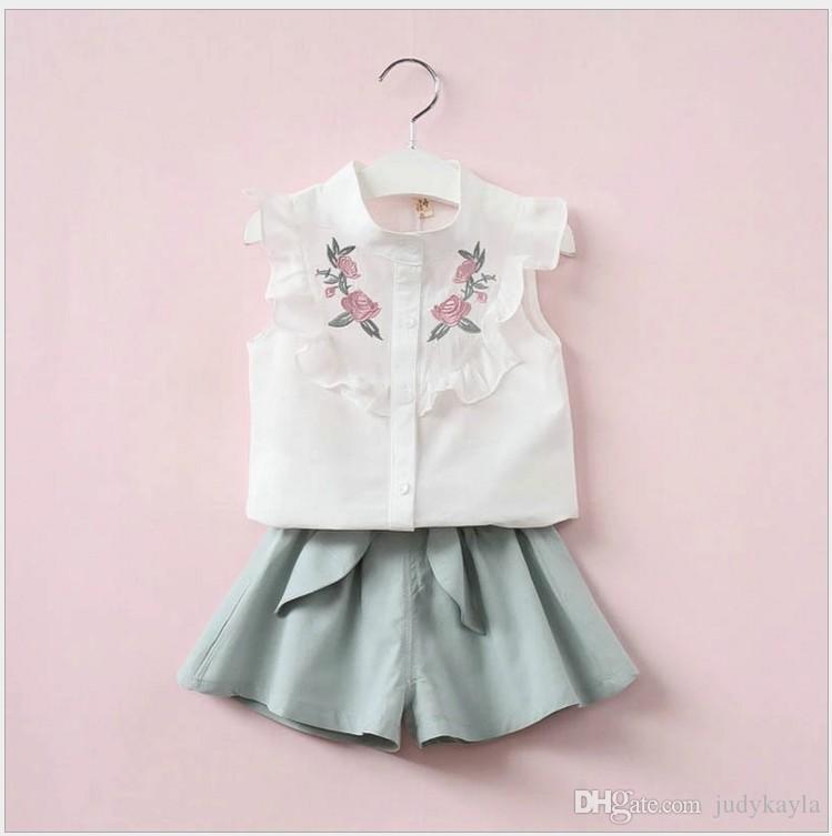 2018 New Girls Summer Clothing Sets White Short Sleeve Flower Embroidered Blouse+Waist Belt Shorts 2pcs Set Girl Suit Children Kids Outfits