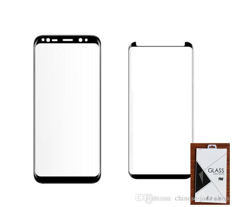 Case sympa / couvercle complet 3D Protecteur d'écran en verre trempé incurvé pour Samsung Galaxy Note 9 8 S8 S9 Plus 500P dans le tableau de vente au détail C