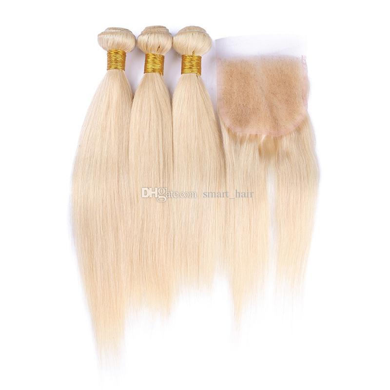 Blonde 613 Fermeture de lacet avec des faisceaux de cheveux humains tout droit péruvienne 613 De couleur pure avec fermeture de lacet