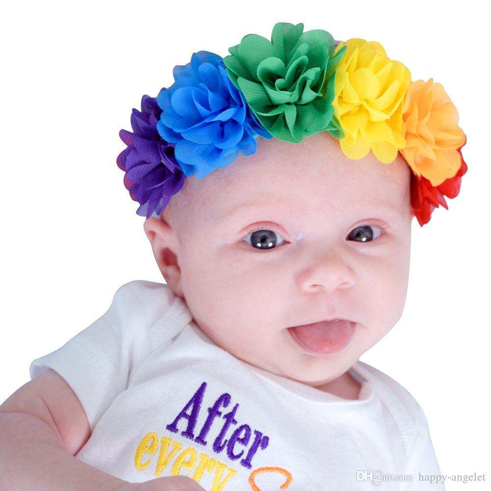 cintas para el pelo nueva gasa de la moda guirnalda de la flor del pelo del arco iris Accesorios para el cabello diadema turbante arco niños abrigo de la cabeza H166