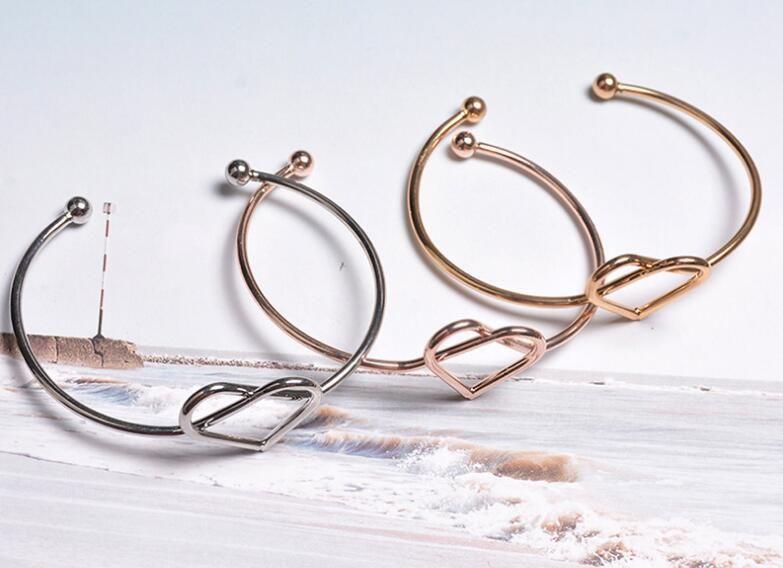 Bracciale di contrazione semplice piegatura delle donne oro rosa diretta coreano amore zircone indossare bracciali gioielli
