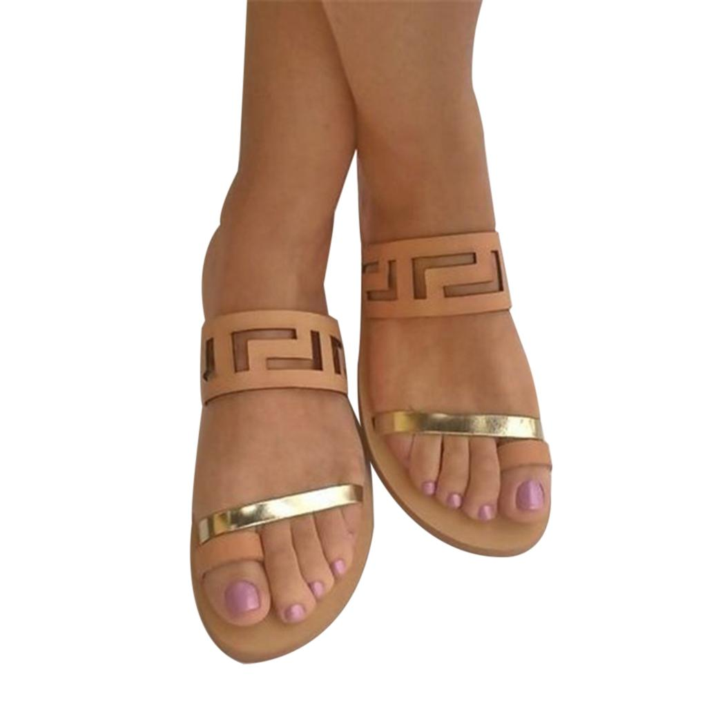 PU de la manera sandalias de 2018 mujeres planas resbalón ocasional de playa del verano del gladiador de la correa de las sandalias del zapato plano