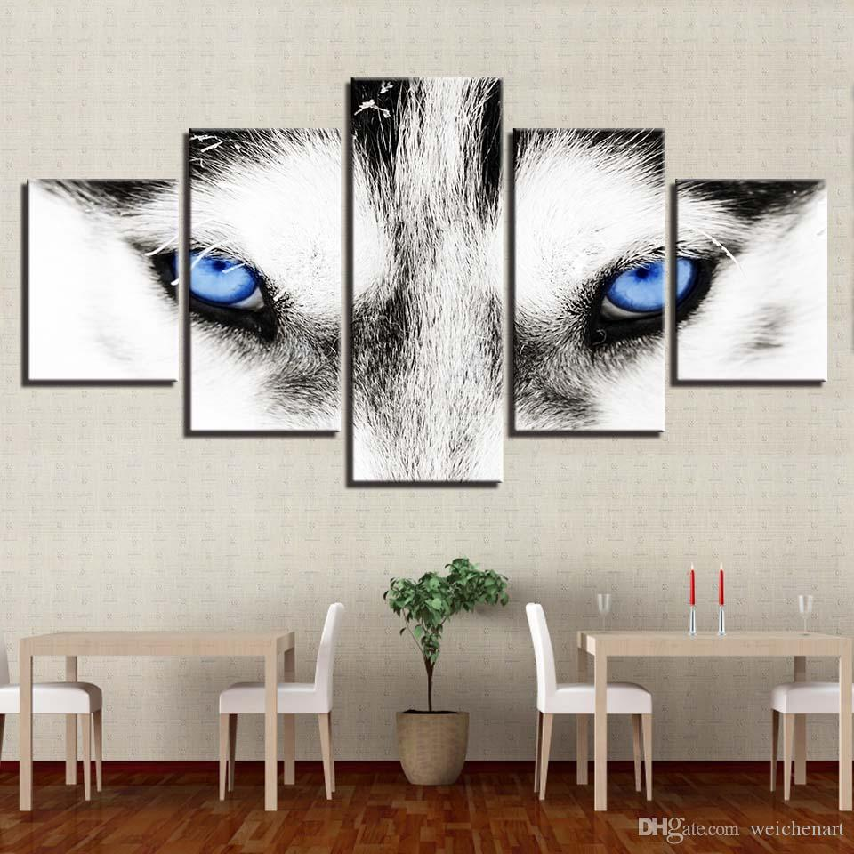 Canvas HD Prints Dipinti Home Decor Framework 5 pezzi Wolf Blue Eyes Poster Immagini animali modulari per soggiorno Wall Art
