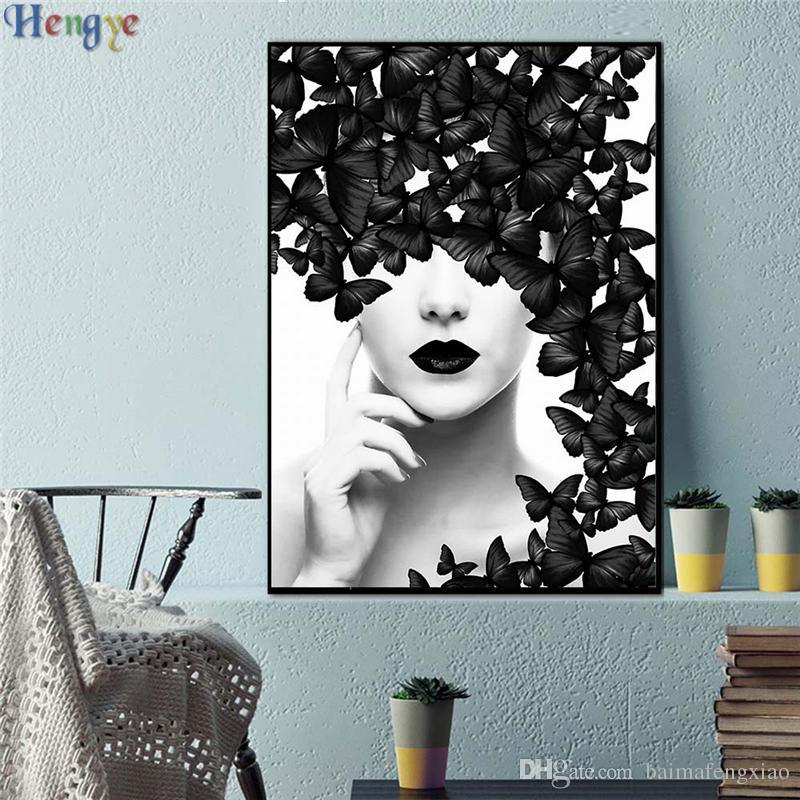 ZYXIAO Grande Taille Peinture À L'huile Art noir papillon sexy fille Décor À La Maison sur Toile Moderne Mur Art No Frame Imprimer Affiche photo ys0021