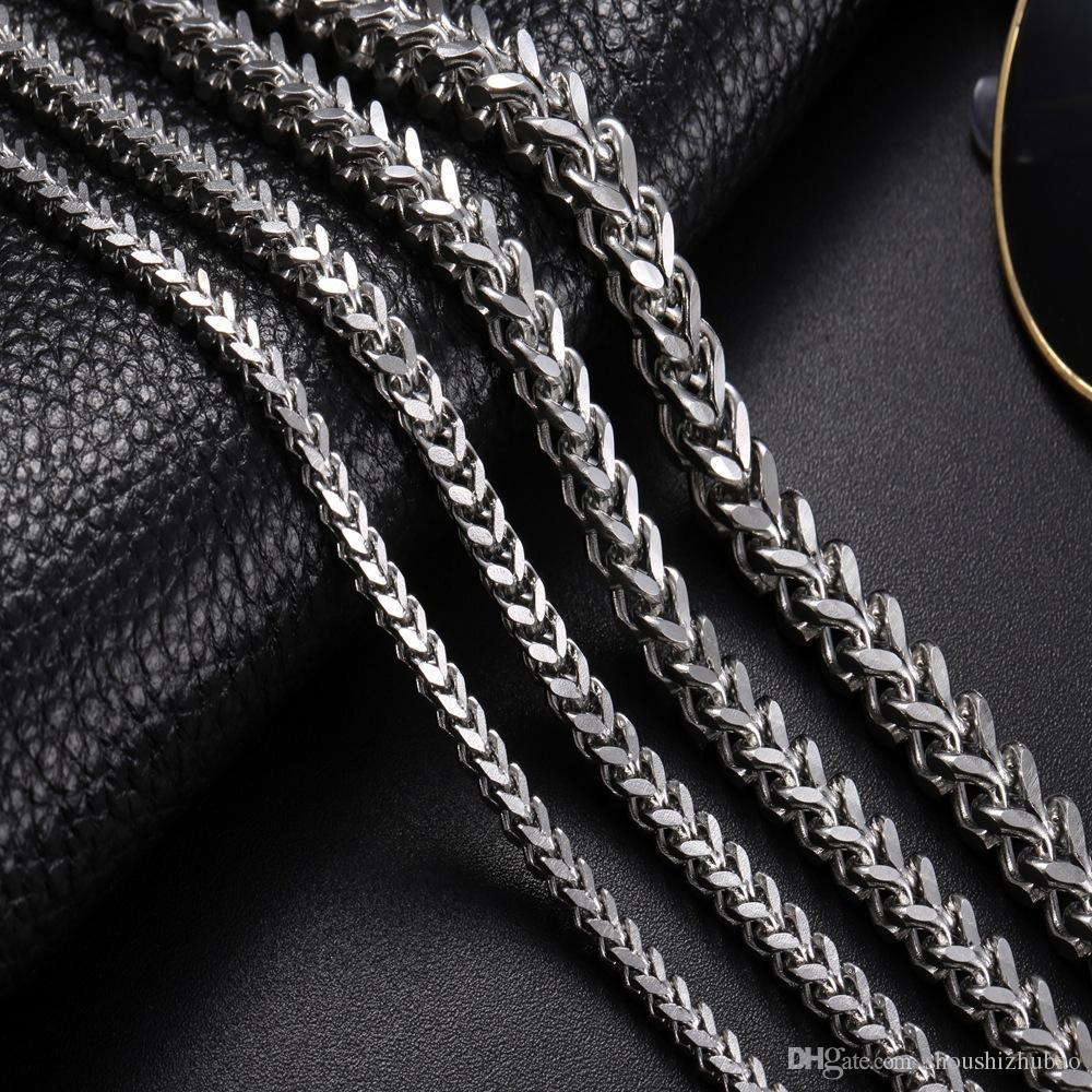 Punk Rock Metal Chaînes longues Link Collier pour hommes en acier inoxydable 3mm de large 18-30 pouces Vintage Titanium 2017 Déclaration bijoux CHN001