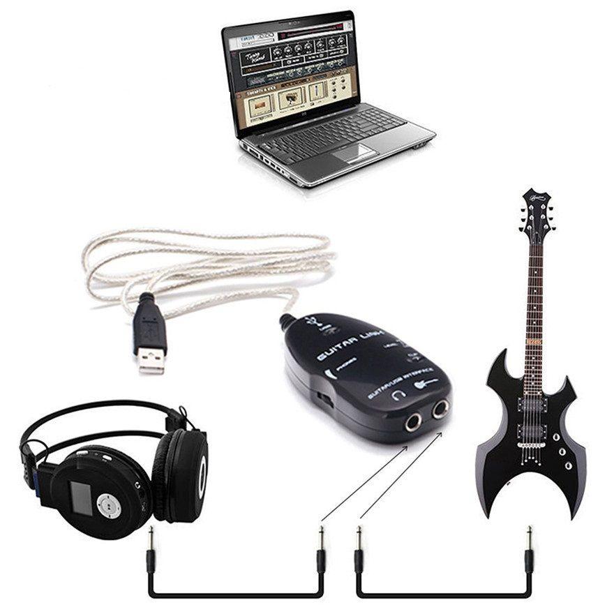 100 takım / grup USB GITAR KABLOSU Elektrik Gitar Bağlantı USB Ses Kablosu Arabirimi Gitar bağlantı Kurşun Bilgisayar için yeni