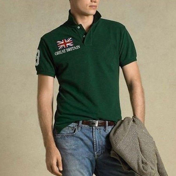무료 배송!높은 품질 TopsTees 셔츠 짧은 소매 자수 턴 다운 칼라 국기 큰 말 폴로 남성 T 셔츠 100%코 튼