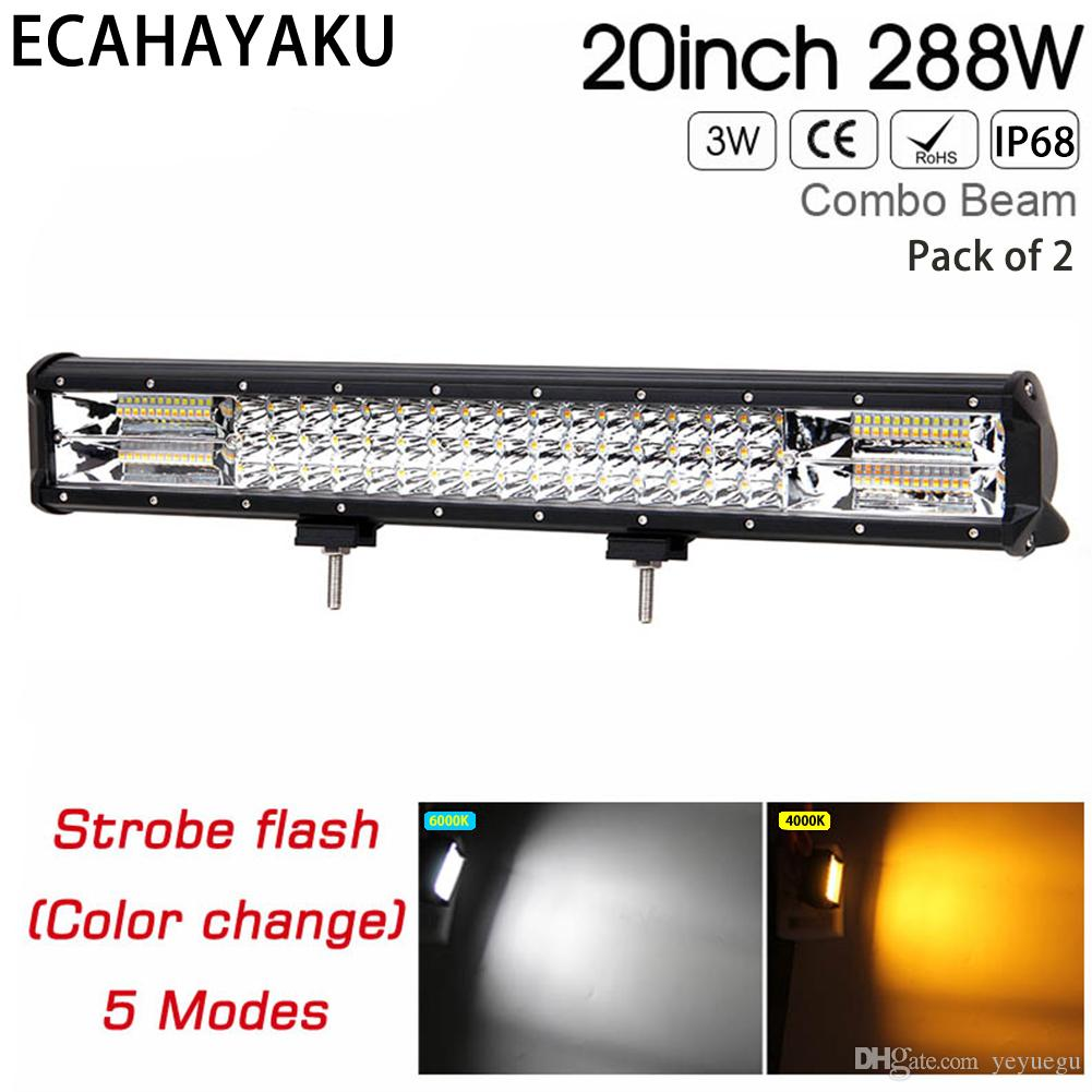 20inch Triple rows car led light bar 288w white/yellow color strobe function 5 styles led bar light for offroad SUV Trucks