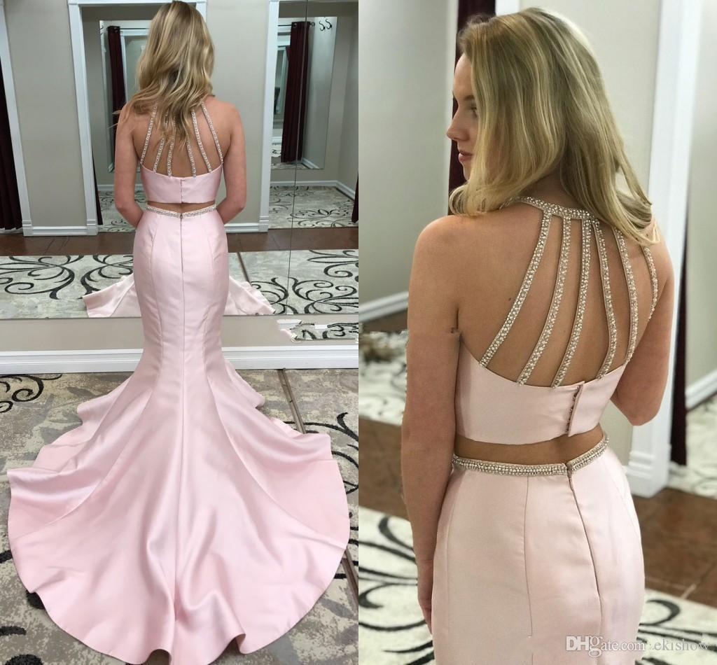 2018 Sexy Pink Satin Two Piece Mermaid Prom Dresses Crystal Beaded Backless Evening Wear Long Party Gowns Homecoming Graduation Dress