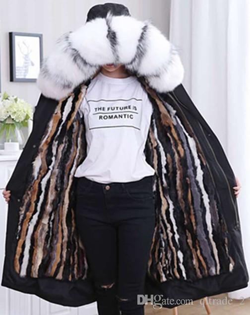 X-lange wit zwarte wasbeerbont vrouwen sneeuwjassen veelkleurige kleuren Verticale strepen Nertsen haar fodera in pelliccia nera lungo parka