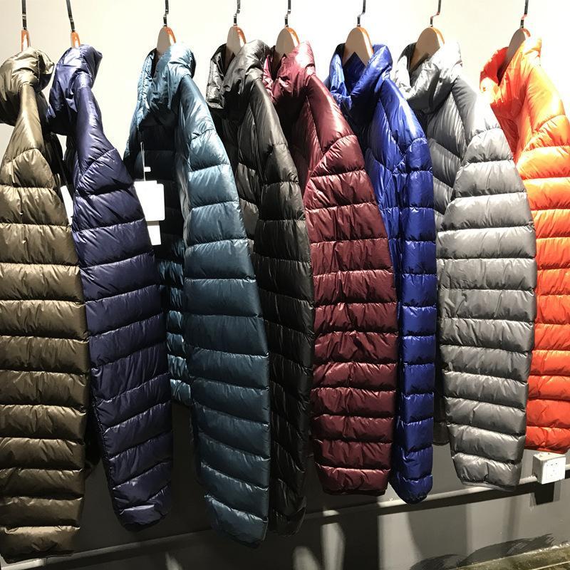 [Aiweier]Men's Down Jacket Big Size Winter Coats Zipper Solid Thin Male Ultra Light Stand Collar White Duck Down Jackets ALLD03 L18101103