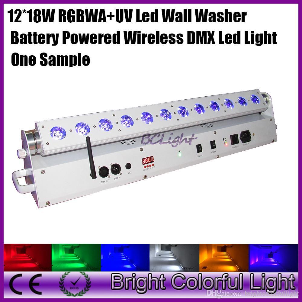 one sample High brightness RGBWA+UV led bar light 12*18W battery powered wireless dmx led wall washer led uplight