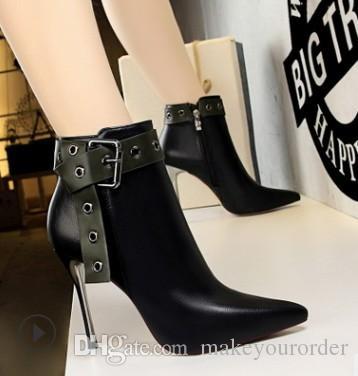 fashion high heel sexy rivet belt buckle short boots fine stiletto sexy club show think for women lady591