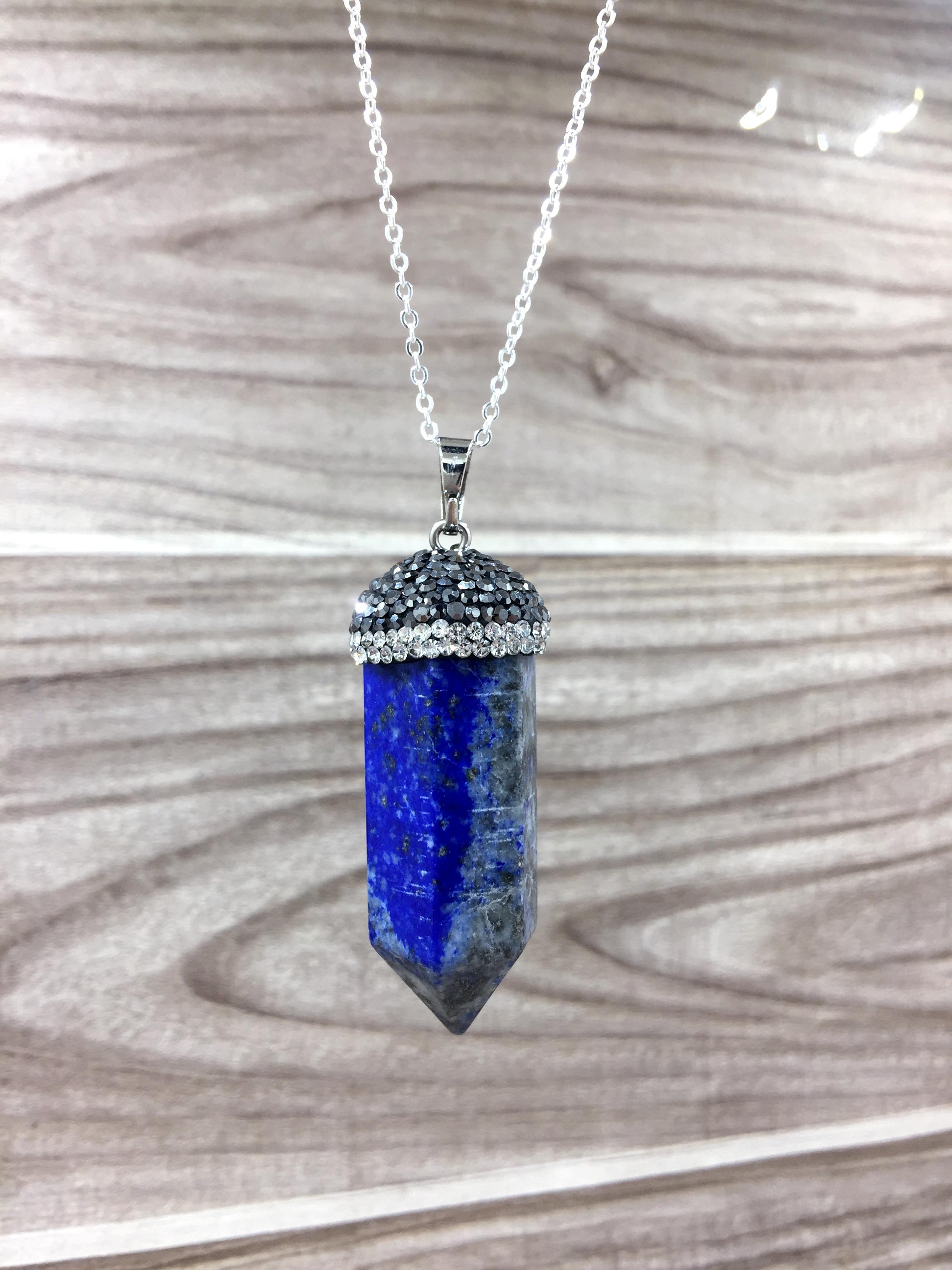 Gran pulido natural Lapislázuli punto collar colgante, cristal lapislázuli piedra colgante de piedras preciosas colgante collar cadena de plata